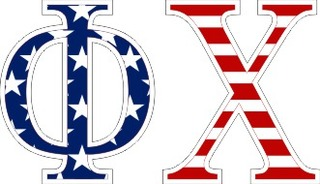 "Phi Chi American Flag Greek Letter Sticker - 2.5"" Tall"