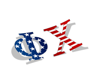 "Phi Chi American Flag Greek Letter Sticker - 2.5"" Tall"