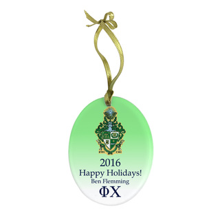 Phi Chi Holiday Color Crest - Shield Glass Ornament