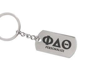 Phi Delta Theta Dog Tag Style Custom Keychain