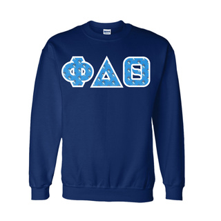 Phi Delta Theta Fraternity Crest - Shield Twill Letter Crewneck Sweatshirt