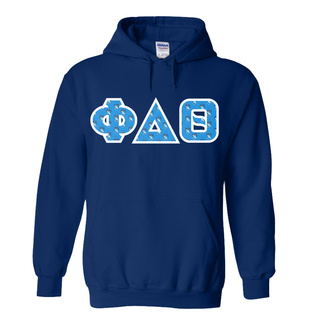 Phi Delta Theta Fraternity Crest - Shield Twill Letter Hooded Sweatshirt