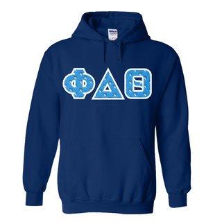 Phi Delta Theta Fraternity Crest - Shield Twill Letter Hooded Sweatshirt