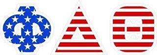 """Phi Delta Theta Giant 4"""" American Flag Greek Letter Sticker"""