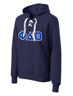 DISCOUNT-Phi Delta Theta Lace Up Pullover Hooded Sweatshirt