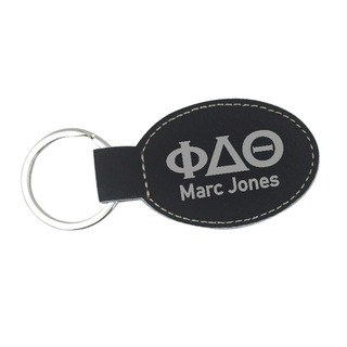 Phi Delta Theta Leatherette Oval Keychain