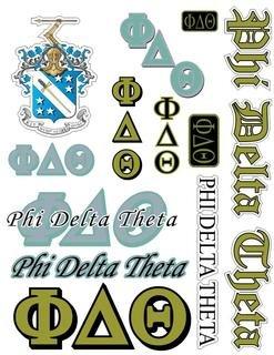 Phi Delta Theta Multi Greek Decal Sticker Sheet