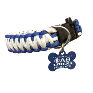 Phi Delta Theta Paracord Dog Collar with ID Tag Attached