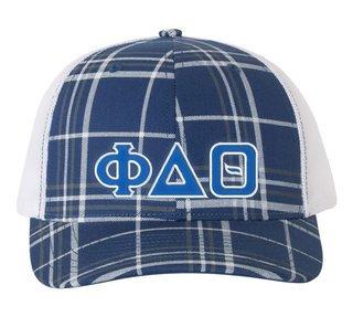 Phi Delta Theta Plaid Snapback Trucker Hat - CLOSEOUT