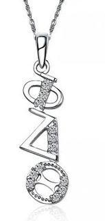 Phi Delta Theta Sweet Heart Diagonal Silver Lavalier