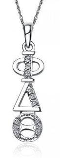 Phi Delta Theta Sweet Heart Vertical Silver Lavalier