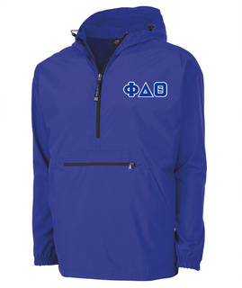 Phi Delta Theta Tackle Twill Lettered Pack N Go Pullover