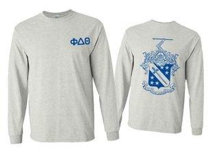 Phi Delta Theta World Famous Crest Long Sleeve T-Shirt- MADE FAST!