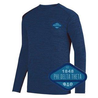 DISCOUNT-Phi Delta Theta Woven Emblem Greek Dry Fit Tonal Long Sleeve Tee