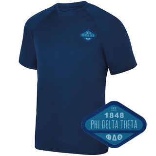 DISCOUNT-Phi Delta Theta Woven Emblem Greek Dry Fit Wicking Tee