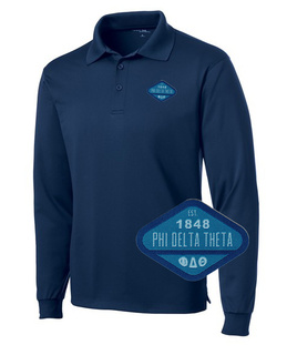 DISCOUNT-Phi Delta Theta Woven Emblem Greek Long Sleeve Dry Fit Polo