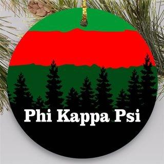 Phi Kappa Psi Christmas Mountains Round Ornaments