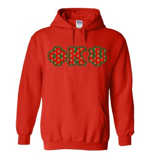 Phi Kappa Psi Fraternity Crest - Shield Twill Letter Hooded Sweatshirt