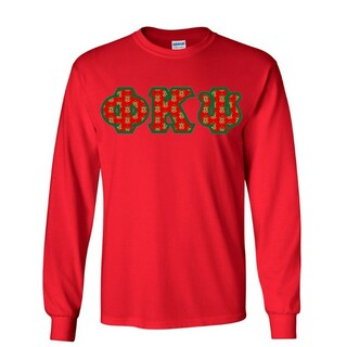 Phi Kappa Psi Fraternity Crest - Shield Twill Letter Longsleeve Tee