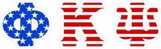 """Phi Kappa Psi Giant 4"""" American Flag Greek Letter Sticker"""