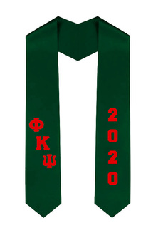 Phi Kappa Psi Greek Diagonal Lettered Graduation Sash Stole With Year
