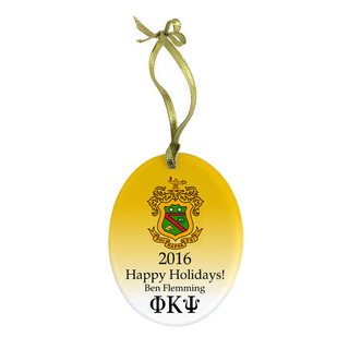 Phi Kappa Psi Holiday Color Crest - Shield Glass Ornament