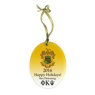 Phi Kappa Psi Holiday Color Crest - Shield Glass Ornament