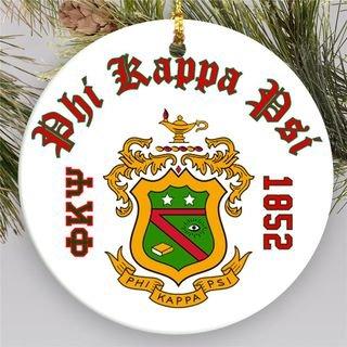 Phi Kappa Psi Round Christmas Shield Ornament