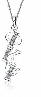 Phi Kappa Psi Sweet Heart Diagonal Silver Lavalier