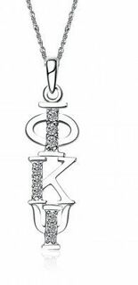 Phi Kappa Psi Sweet Heart Vertical Silver Lavalier