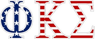 "Phi Kappa Sigma American Flag Greek Letter Sticker - 2.5"" Tall"