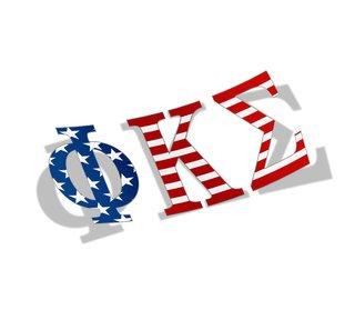 """Phi Kappa Sigma American Flag Greek Letter Sticker - 2.5"""" Tall"""