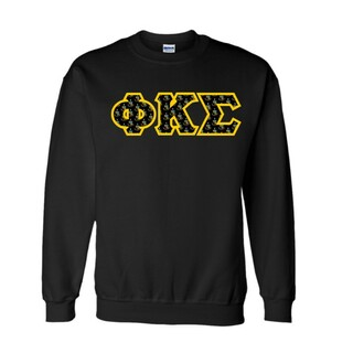 Phi Kappa Sigma Fraternity Crest - Shield Twill Letter Crewneck Sweatshirt
