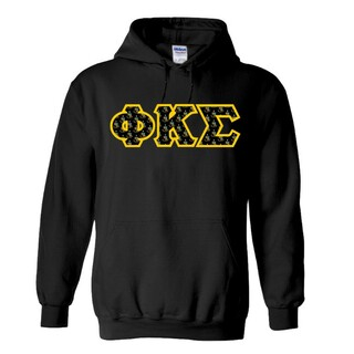 Phi Kappa Sigma Fraternity Crest - Shield Twill Letter Hooded Sweatshirt