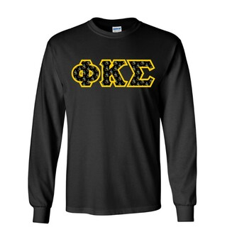 Phi Kappa Sigma Fraternity Crest - Shield Twill Letter Longsleeve Tee