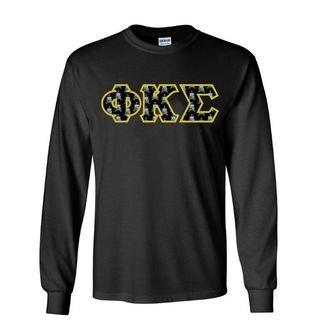 Phi Kappa Sigma Fraternity Crest - Shield Twill Letter Longsleeve Tee