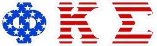 "Phi Kappa Sigma Giant 4"" American Flag Greek Letter Sticker"