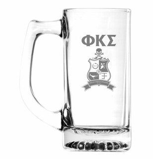 Phi Kappa Sigma Glass Engraved 25 Ounce Mug