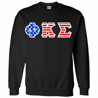 DISCOUNT-Phi Kappa Sigma Greek Letter American Flag Crewneck