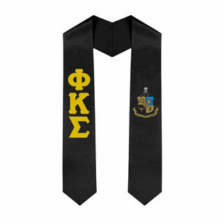 Phi Kappa Sigma Greek Lettered Graduation Sash Stole With Crest