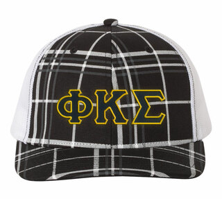 Phi Kappa Sigma Plaid Snapback Trucker Hat - CLOSEOUT
