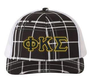 Phi Kappa Sigma Plaid Snapback Trucker Hat