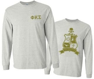 Phi Kappa Sigma World Famous Crest - Shield Long Sleeve T-Shirt- $19.95!