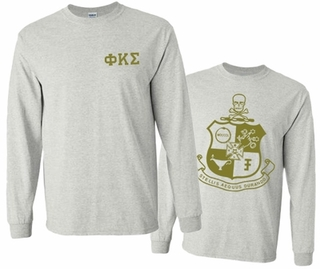 Phi Kappa Sigma World Famous Crest Long Sleeve T-Shirt- MADE FAST!