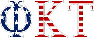 "Phi Kappa Tau American Flag Greek Letter Sticker - 2.5"" Tall"