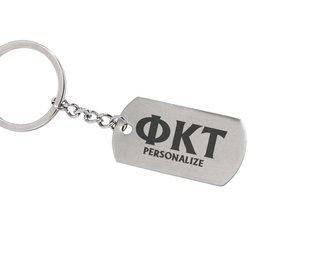 Phi Kappa Tau Dog Tag Style Custom Keychain