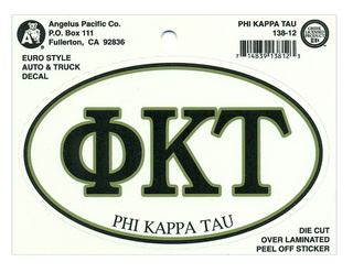Phi Kappa Tau Euro Decal Oval Sticker