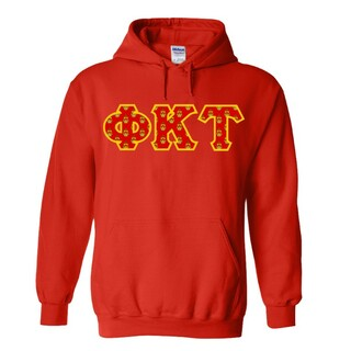 Phi Kappa Tau Fraternity Crest - Shield Twill Letter Hooded Sweatshirt
