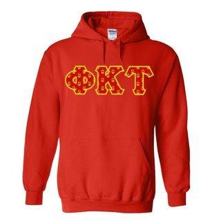 Phi Kappa Tau Fraternity Crest - Shield Twill Letter Hooded Sweatshirt