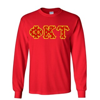 Phi Kappa Tau Fraternity Crest - Shield Twill Letter Longsleeve Tee